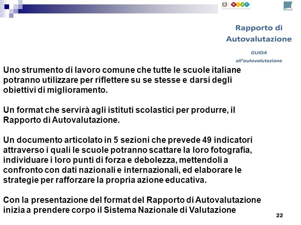 22 Uno strumento di lavoro comune che tutte le scuole italiane potranno utilizzare per riflettere su se stesse e darsi degli obiettivi di miglioramento.
