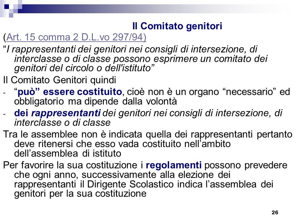 26 Il Comitato genitori (Art.15 comma 2 D.L.vo 297/94)Art.
