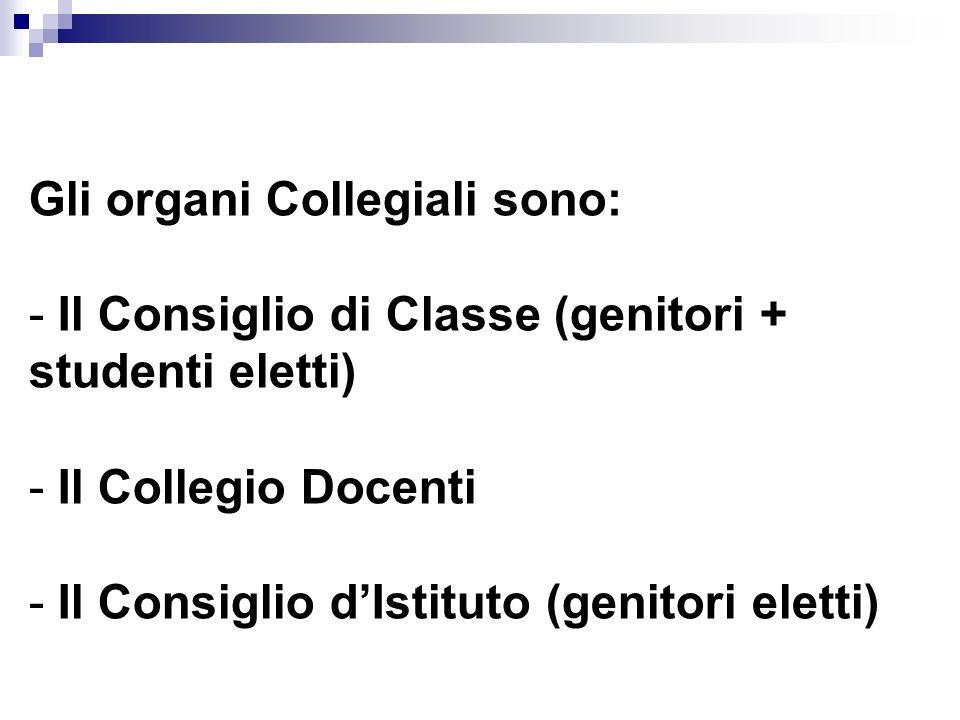 Gli organi Collegiali sono: - Il Consiglio di Classe (genitori + studenti eletti) - Il Collegio Docenti - Il Consiglio d'Istituto (genitori eletti)