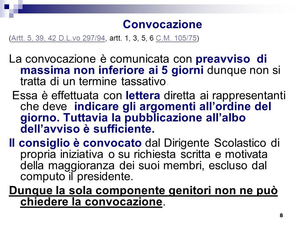 8 Convocazione (Artt.5, 39, 42 D.L.vo 297/94, artt.
