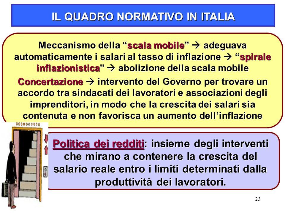 """23 Meccanismo della """"scala mobile""""  adeguava automaticamente i salari al tasso di inflazione  """"spirale inflazionistica""""  abolizione della scala mob"""