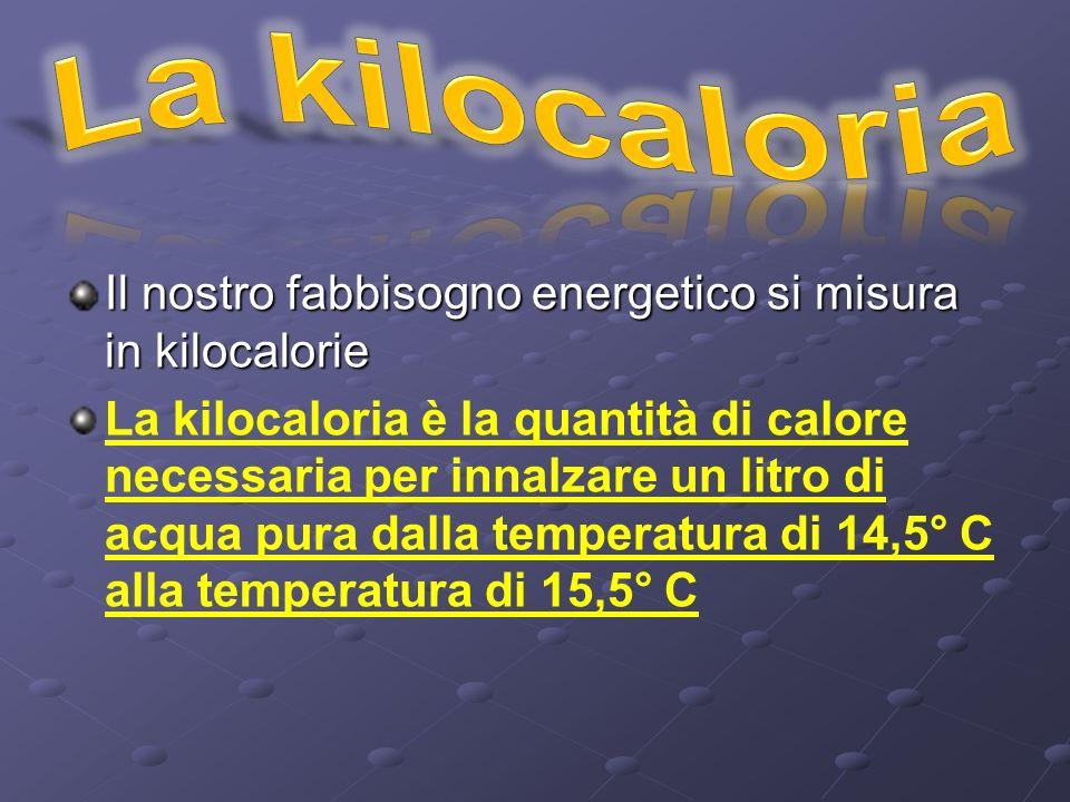 Il nostro fabbisogno energetico si misura in kilocalorie La kilocaloria è la quantità di calore necessaria per innalzare un litro di acqua pura dalla temperatura di 14,5° C alla temperatura di 15,5° C