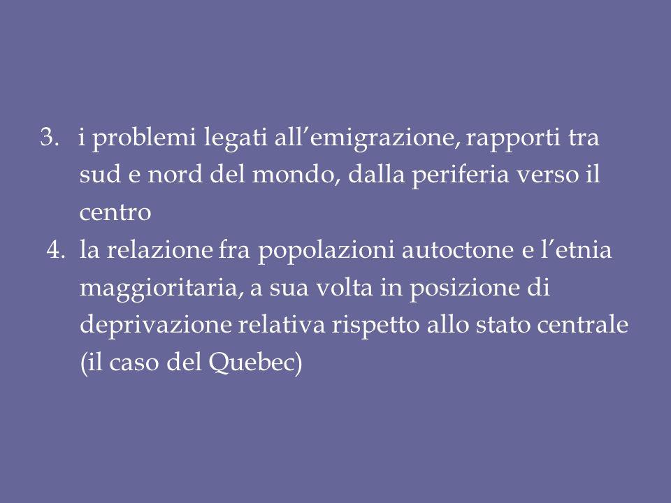 3.i problemi legati all'emigrazione, rapporti tra sud e nord del mondo, dalla periferia verso il centro 4.