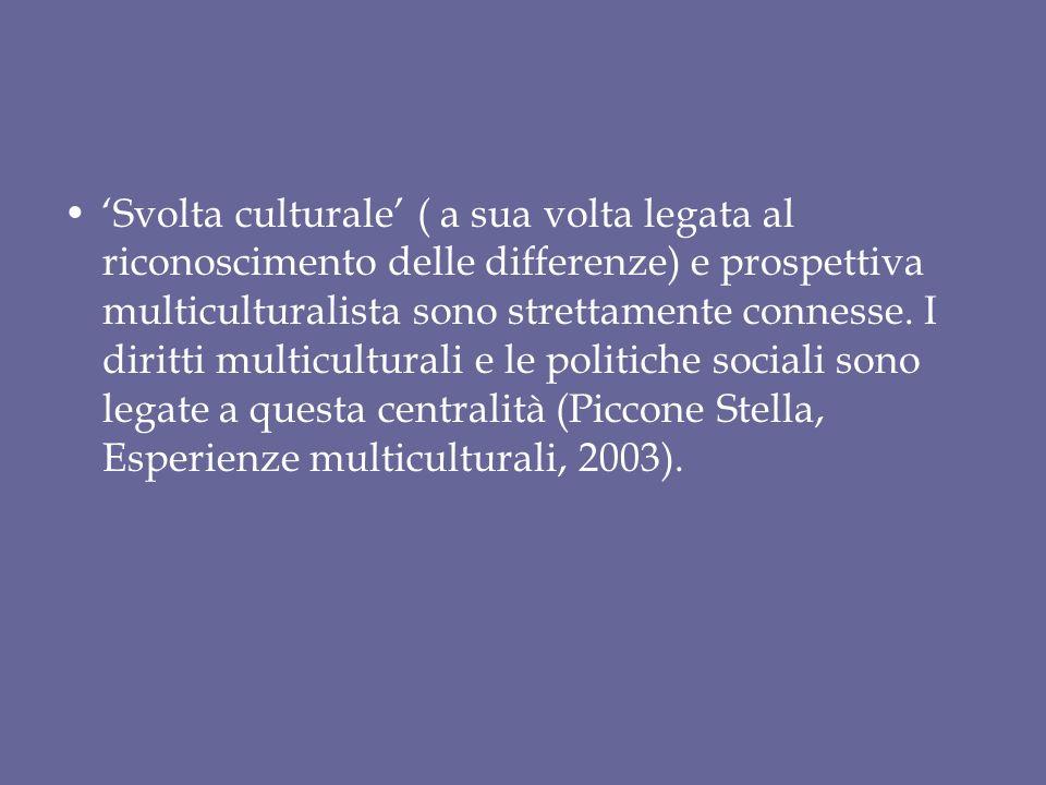 'Svolta culturale' ( a sua volta legata al riconoscimento delle differenze) e prospettiva multiculturalista sono strettamente connesse.