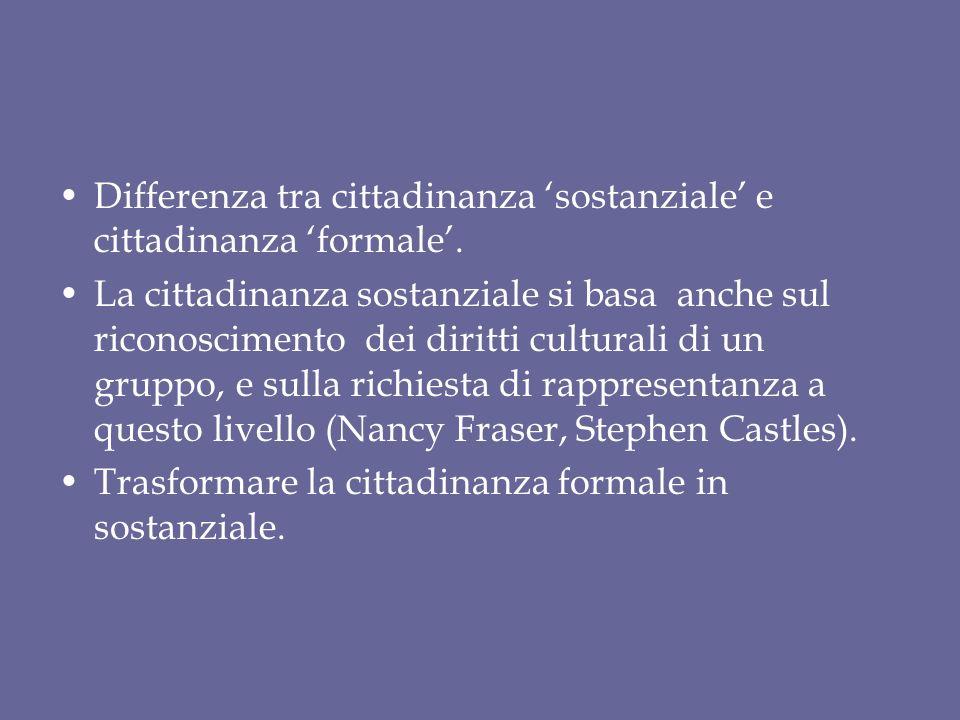 Differenza tra cittadinanza 'sostanziale' e cittadinanza 'formale'.