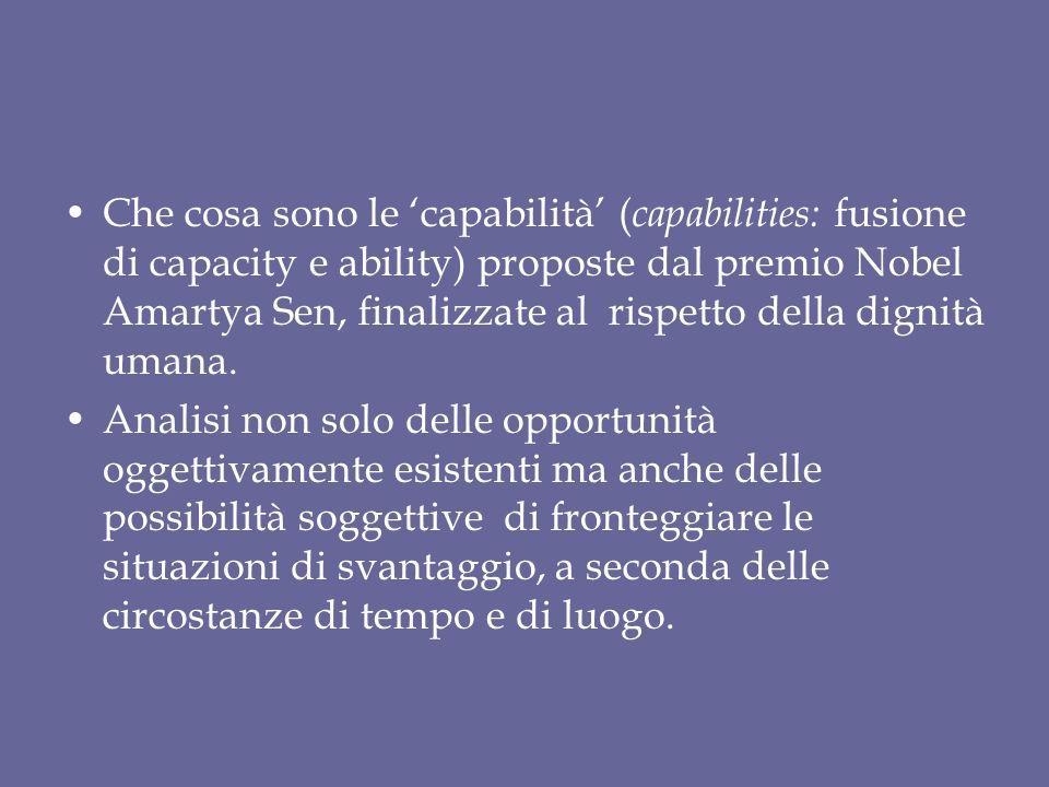 Che cosa sono le 'capabilità' ( capabilities: fusione di capacity e ability) proposte dal premio Nobel Amartya Sen, finalizzate al rispetto della dignità umana.