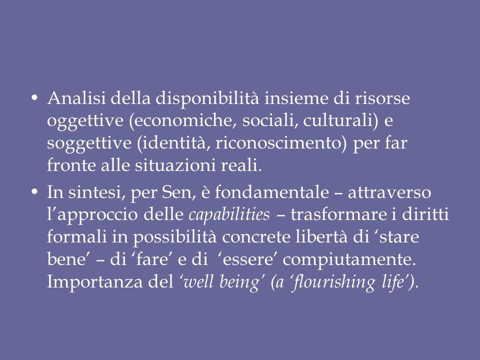 Analisi della disponibilità insieme di risorse oggettive (economiche, sociali, culturali) e soggettive (identità, riconoscimento) per far fronte alle situazioni reali.