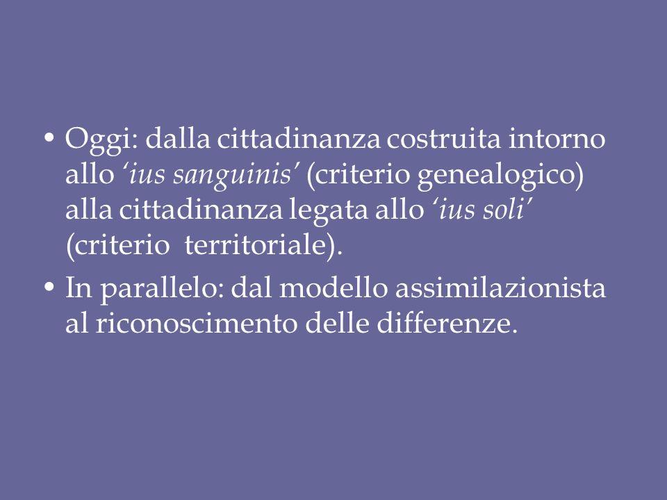 Oggi: dalla cittadinanza costruita intorno allo 'ius sanguinis' (criterio genealogico) alla cittadinanza legata allo 'ius soli' (criterio territoriale).