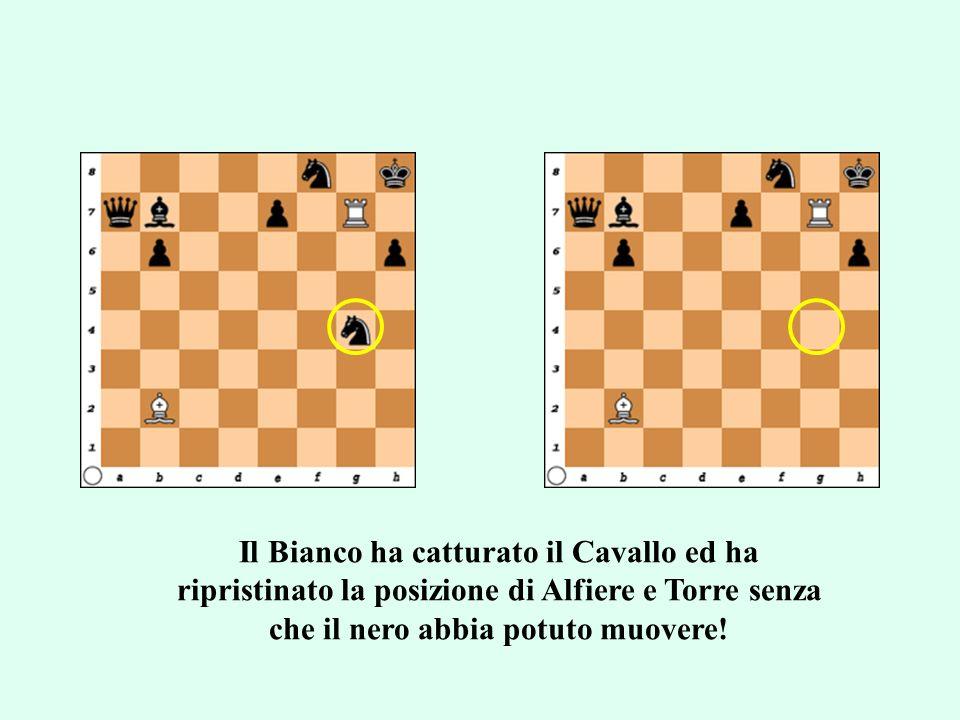 Il Bianco ha catturato il Cavallo ed ha ripristinato la posizione di Alfiere e Torre senza che il nero abbia potuto muovere!