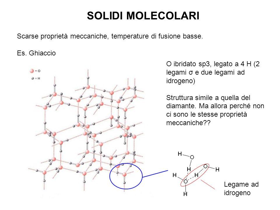 SOLIDI MOLECOLARI Scarse proprietà meccaniche, temperature di fusione basse. Es. Ghiaccio Legame ad idrogeno O ibridato sp3, legato a 4 H (2 legami σ