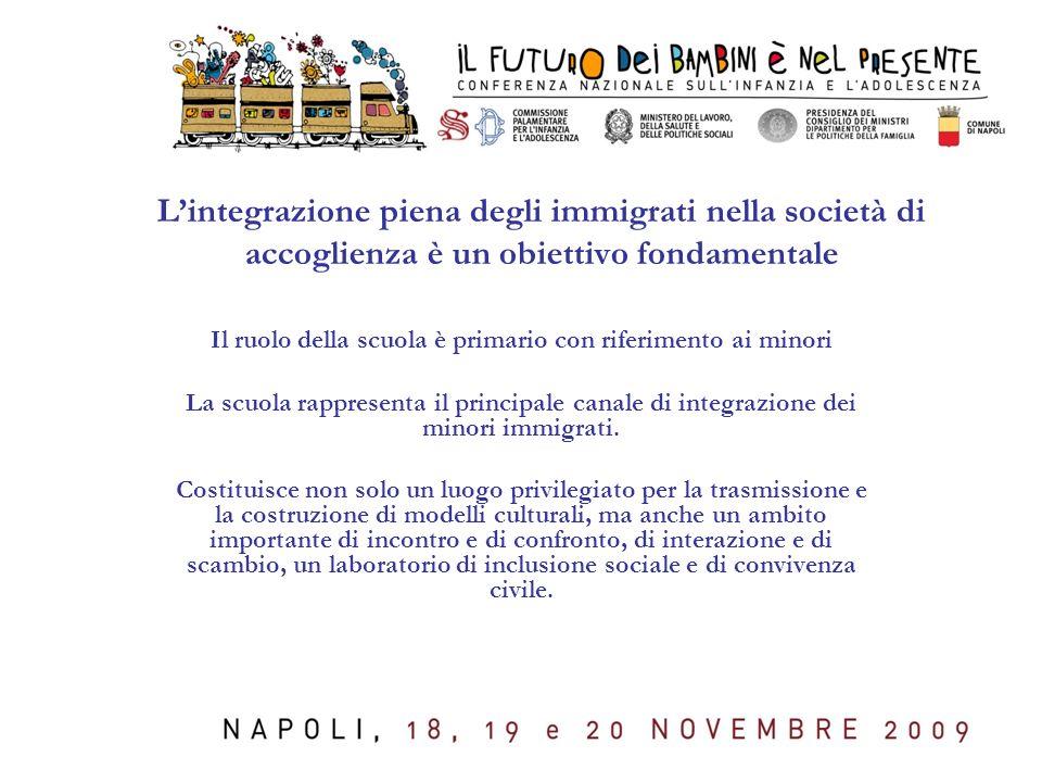 L'integrazione piena degli immigrati nella società di accoglienza è un obiettivo fondamentale Il ruolo della scuola è primario con riferimento ai minori La scuola rappresenta il principale canale di integrazione dei minori immigrati.