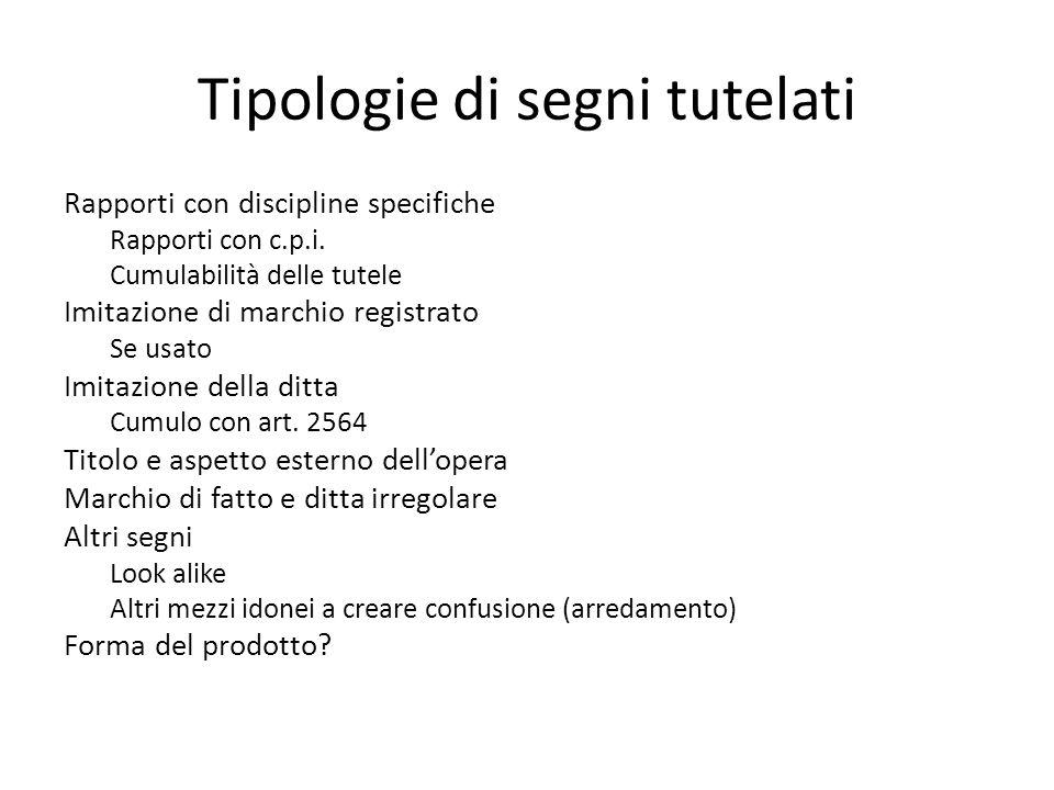 Tipologie di segni tutelati Rapporti con discipline specifiche Rapporti con c.p.i.
