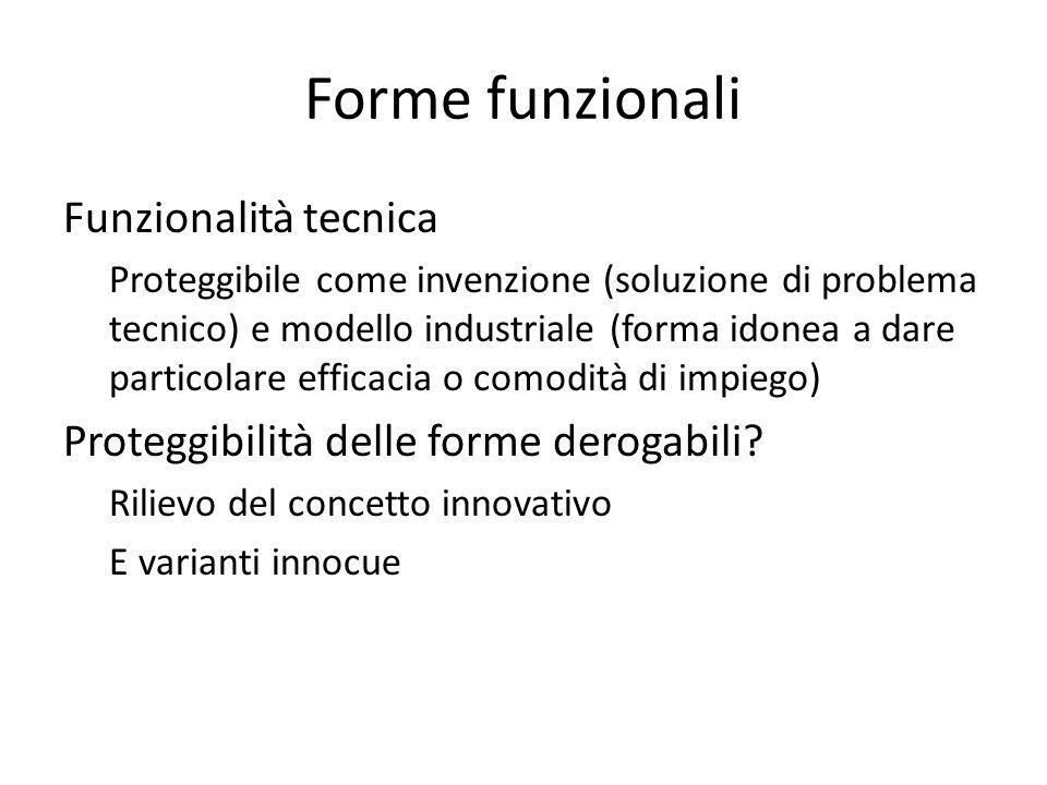 Forme funzionali Funzionalità tecnica Proteggibile come invenzione (soluzione di problema tecnico) e modello industriale (forma idonea a dare particolare efficacia o comodità di impiego) Proteggibilità delle forme derogabili.