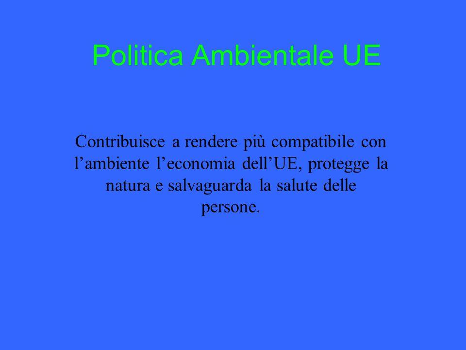 Politica Ambientale UE Contribuisce a rendere più compatibile con l'ambiente l'economia dell'UE, protegge la natura e salvaguarda la salute delle persone.
