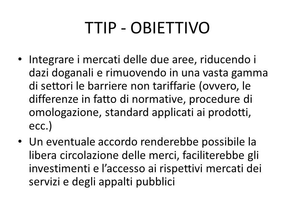 TTIP - OBIETTIVO Integrare i mercati delle due aree, riducendo i dazi doganali e rimuovendo in una vasta gamma di settori le barriere non tariffarie (