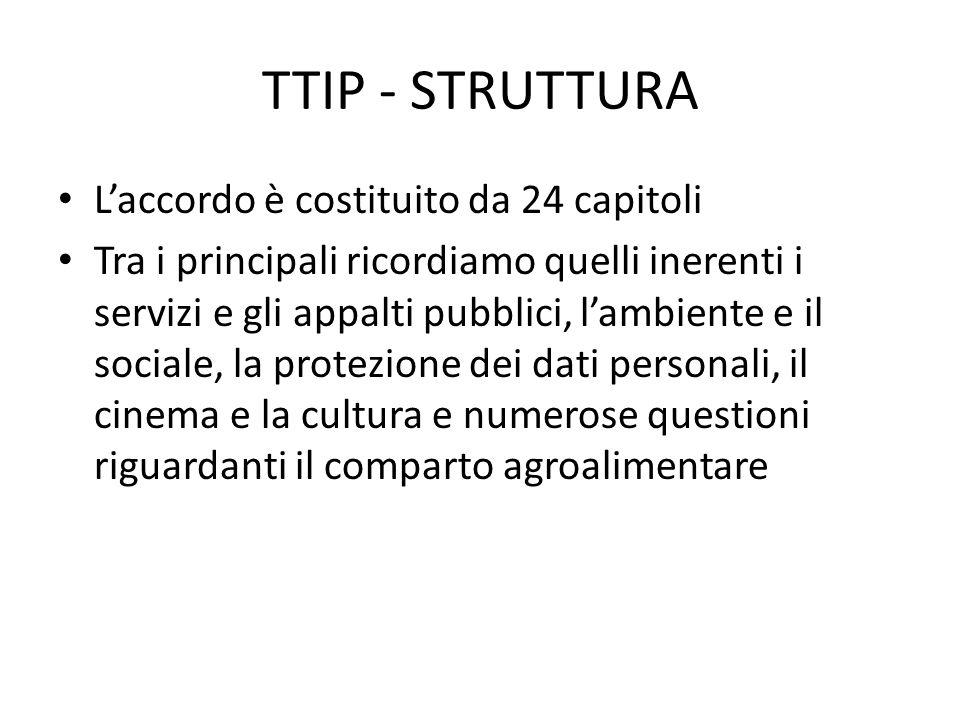 TTIP - STRUTTURA L'accordo è costituito da 24 capitoli Tra i principali ricordiamo quelli inerenti i servizi e gli appalti pubblici, l'ambiente e il sociale, la protezione dei dati personali, il cinema e la cultura e numerose questioni riguardanti il comparto agroalimentare