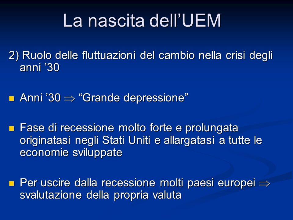 """2) Ruolo delle fluttuazioni del cambio nella crisi degli anni '30 Anni '30  """"Grande depressione"""" Anni '30  """"Grande depressione"""" Fase di recessione m"""