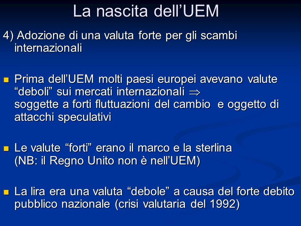 """4) Adozione di una valuta forte per gli scambi internazionali Prima dell'UEM molti paesi europei avevano valute """"deboli"""" sui mercati internazionali """