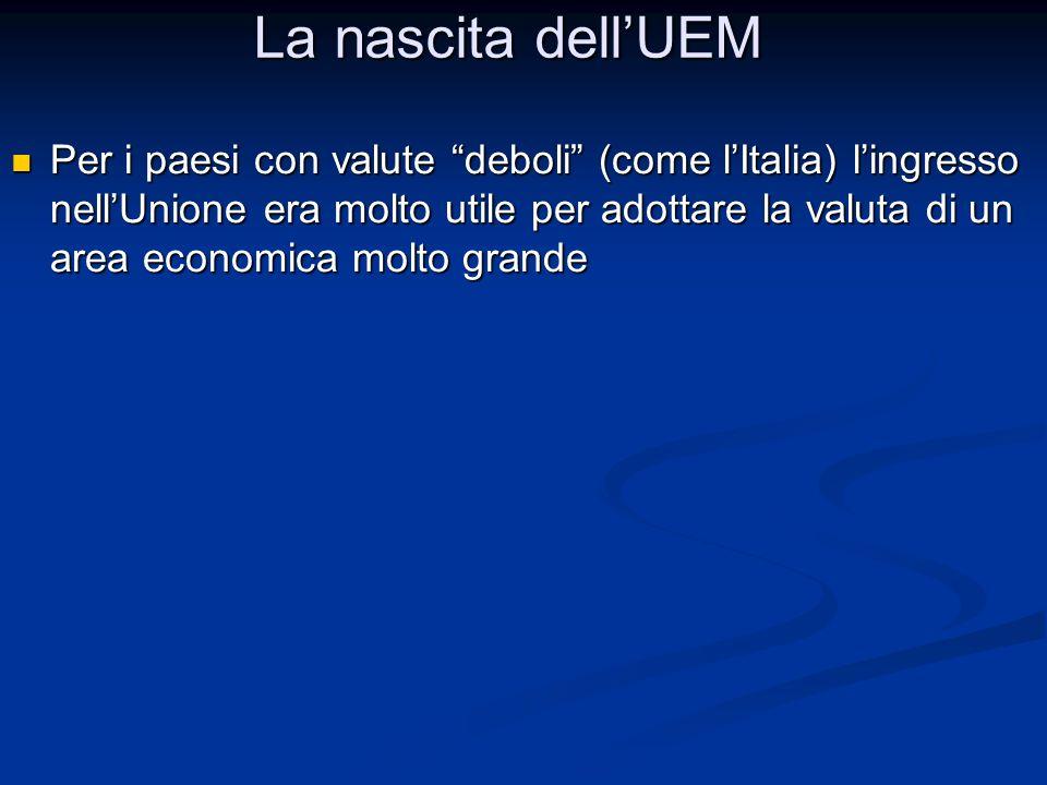 """Per i paesi con valute """"deboli"""" (come l'Italia) l'ingresso nell'Unione era molto utile per adottare la valuta di un area economica molto grande Per i"""