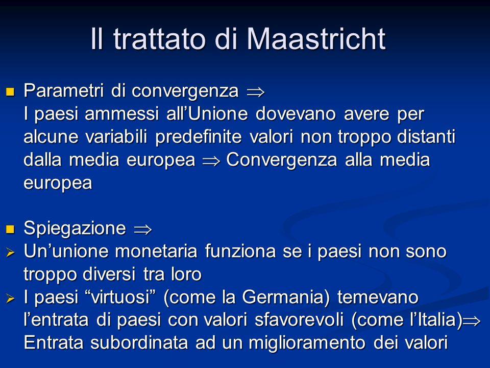 Parametri di convergenza  I paesi ammessi all'Unione dovevano avere per alcune variabili predefinite valori non troppo distanti dalla media europea 