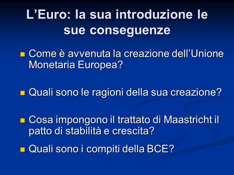 L'Euro: la sua introduzione le sue conseguenze La nascita dell'Unione Monetaria Europea (UEM) La nascita dell'Unione Monetaria Europea (UEM) Le ragioni dell'introduzione dell'Euro Le ragioni dell'introduzione dell'Euro I trattati (Maastricht, Patto di Stabilità e Crescita, Fiscal Compact) I trattati (Maastricht, Patto di Stabilità e Crescita, Fiscal Compact) La Banca Centrale Europea La Banca Centrale Europea