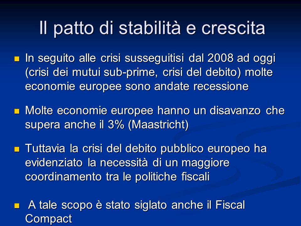 Il patto di stabilità e crescita In seguito alle crisi susseguitisi dal 2008 ad oggi (crisi dei mutui sub-prime, crisi del debito) molte economie euro