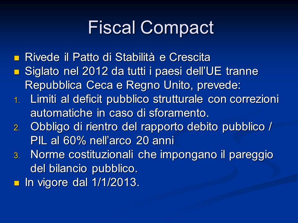 Fiscal Compact Rivede il Patto di Stabilità e Crescita Rivede il Patto di Stabilità e Crescita Siglato nel 2012 da tutti i paesi dell'UE tranne Repubb