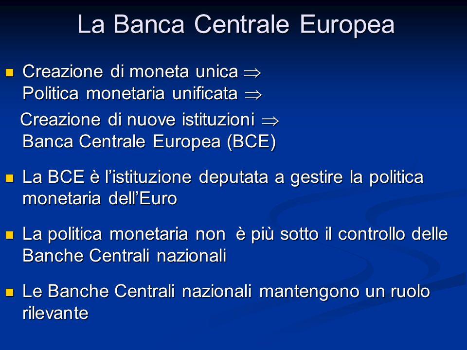 La Banca Centrale Europea Creazione di moneta unica  Politica monetaria unificata  Creazione di moneta unica  Politica monetaria unificata  Creazi