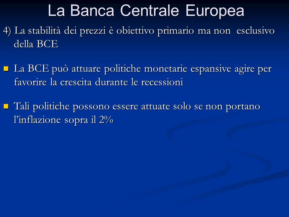 La Banca Centrale Europea 4) La stabilità dei prezzi è obiettivo primario ma non esclusivo della BCE La BCE può attuare politiche monetarie espansive