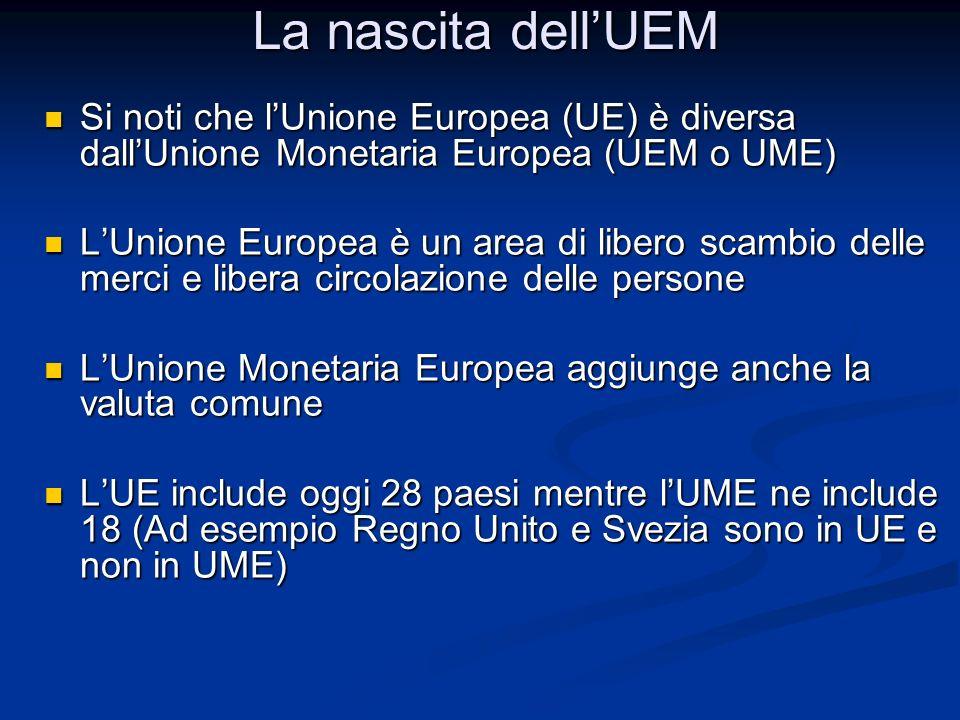 La nascita dell'UEM Si noti che l'Unione Europea (UE) è diversa dall'Unione Monetaria Europea (UEM o UME) Si noti che l'Unione Europea (UE) è diversa