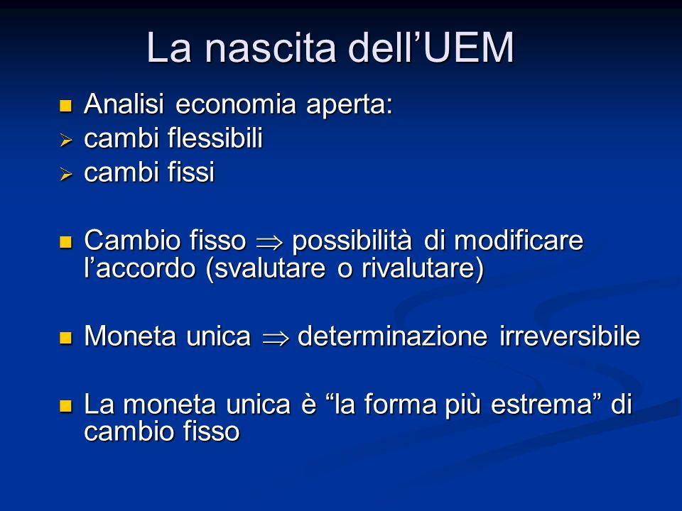 5) Significato politico della valuta comune Accordi fra i paesi europei (dalla CEE all'UE) e istituzioni europee  Accordi fra i paesi europei (dalla CEE all'UE) e istituzioni europee   Eliminare le contrapposizioni fra i paesi protagonisti delle due guerre mondiali  Favorire l'integrazione fra i paesi europei La moneta unica è un elemento di integrazione economica molto forte La moneta unica è un elemento di integrazione economica molto forte La nascita dell'UEM