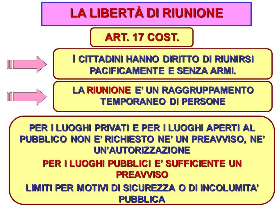 10 LA LIBERTÀ DI RIUNIONE I CITTADINI HANNO DIRITTO DI RIUNIRSI PACIFICAMENTE E SENZA ARMI.