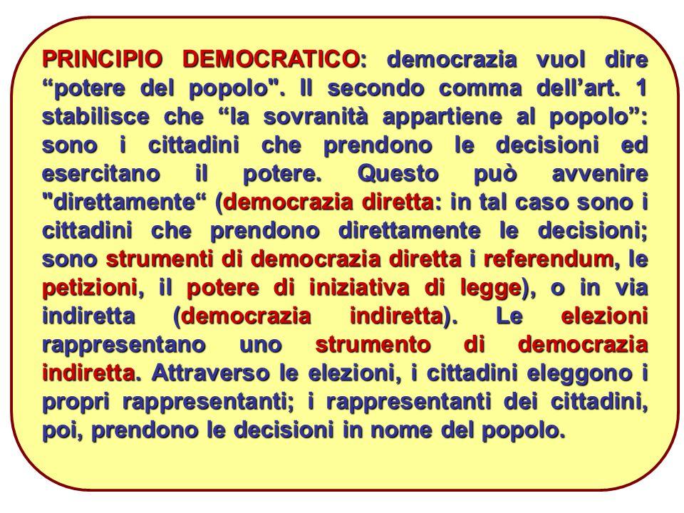 17 PRINCIPIO DEMOCRATICO: democrazia vuol dire potere del popolo .