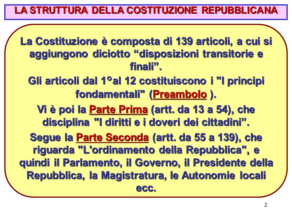 22 LA STRUTTURA DELLA COSTITUZIONE REPUBBLICANA La Costituzione è composta di 139 articoli, a cui si aggiungono diciotto disposizioni transitorie e finali .