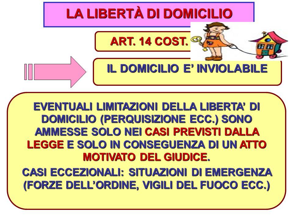 7 LA LIBERTÀ DI DOMICILIO IL DOMICILIO E' INVIOLABILE ART.