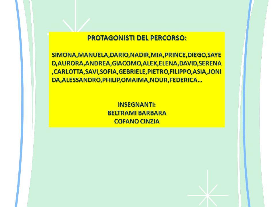 PROTAGONISTI DEL PERCORSO: SIMONA,MANUELA,DARIO,NADIR,MIA,PRINCE,DIEGO,SAYE D,AURORA,ANDREA,GIACOMO,ALEX,ELENA,DAVID,SERENA,CARLOTTA,SAVI,SOFIA,GEBRIELE,PIETRO,FILIPPO,ASIA,JONI DA,ALESSANDRO,PHILIP,OMAIMA,NOUR,FEDERICA… INSEGNANTI: BELTRAMI BARBARA COFANO CINZIA