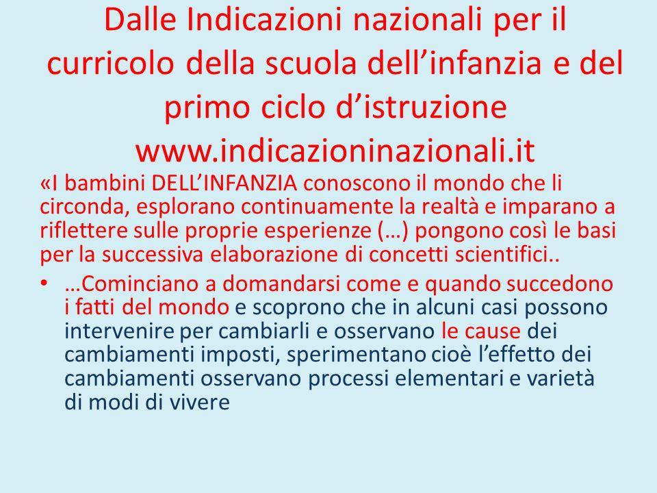 Dalle Indicazioni nazionali per il curricolo della scuola dell'infanzia e del primo ciclo d'istruzione www.indicazioninazionali.it «I bambini DELL'INF