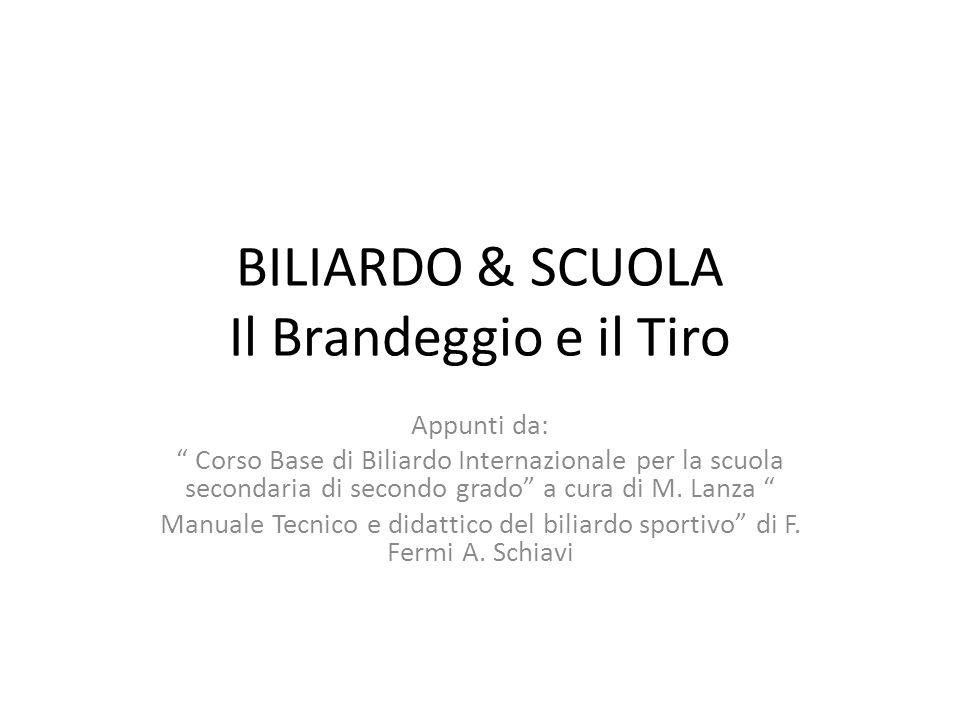 """BILIARDO & SCUOLA Il Brandeggio e il Tiro Appunti da: """" Corso Base di Biliardo Internazionale per la scuola secondaria di secondo grado"""" a cura di M."""
