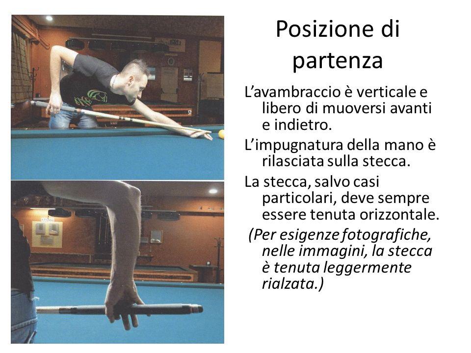 Posizione di partenza L'avambraccio è verticale e libero di muoversi avanti e indietro. L'impugnatura della mano è rilasciata sulla stecca. La stecca,