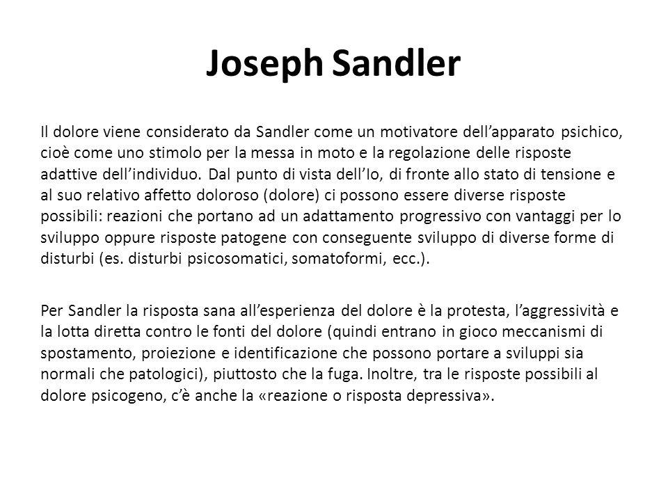 Joseph Sandler Il dolore viene considerato da Sandler come un motivatore dell'apparato psichico, cioè come uno stimolo per la messa in moto e la regolazione delle risposte adattive dell'individuo.