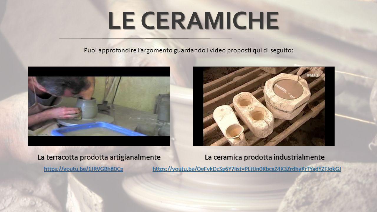 Puoi approfondire l'argomento guardando i video proposti qui di seguito: La terracotta prodotta artigianalmente La ceramica prodotta industrialmente La terracotta prodotta artigianalmente La ceramica prodotta industrialmente https://youtu.be/1JRVGBh80Cg https://youtu.be/OeFvkDcSg6Y?list=PLtIJn0KbcxZ4X3ZrdhyKrTYadYZFJokGJ https://youtu.be/1JRVGBh80Cg https://youtu.be/OeFvkDcSg6Y?list=PLtIJn0KbcxZ4X3ZrdhyKrTYadYZFJokGJhttps://youtu.be/1JRVGBh80Cghttps://youtu.be/1JRVGBh80Cg LE CERAMICHE