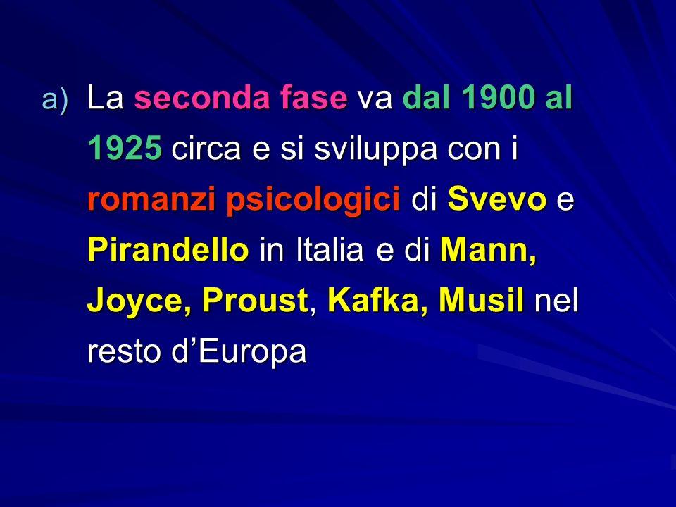 a) La seconda fase va dal 1900 al 1925 circa e si sviluppa con i romanzi psicologici di Svevo e Pirandello in Italia e di Mann, Joyce, Proust, Kafka, Musil nel resto d'Europa