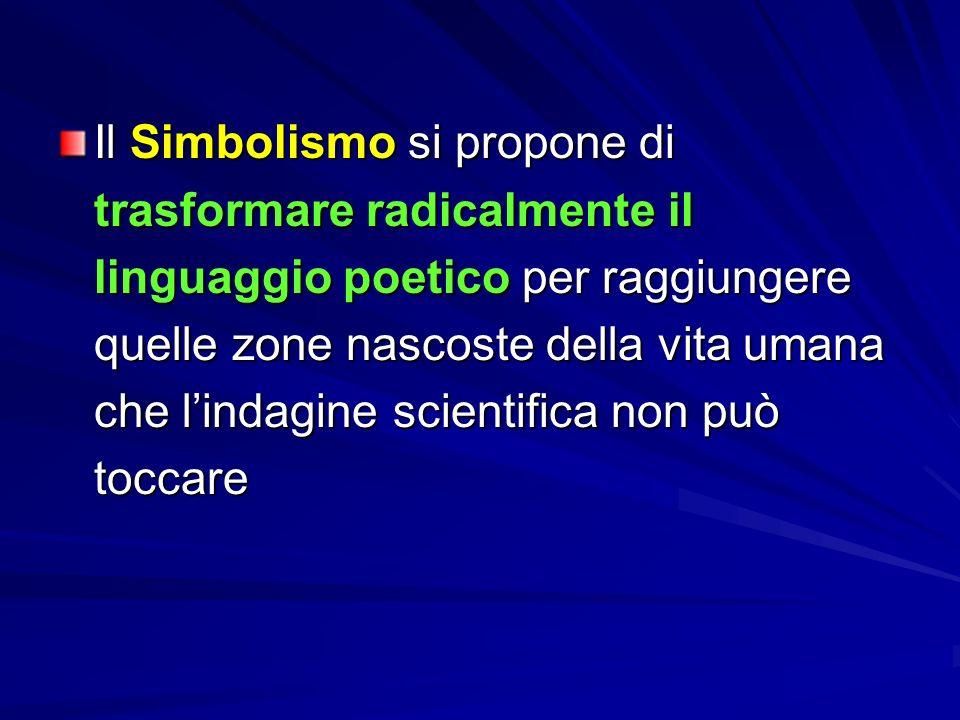 Il Simbolismo si propone di trasformare radicalmente il linguaggio poetico per raggiungere quelle zone nascoste della vita umana che l'indagine scientifica non può toccare