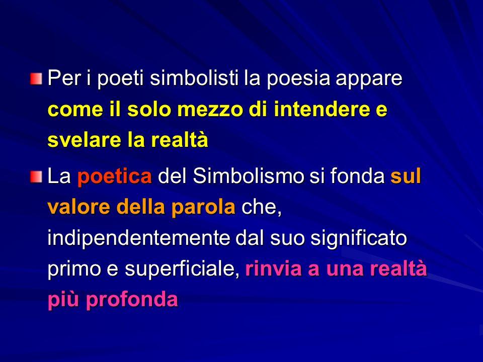 Per i poeti simbolisti la poesia appare come il solo mezzo di intendere e svelare la realtà La poetica del Simbolismo si fonda sul valore della parola che, indipendentemente dal suo significato primo e superficiale, rinvia a una realtà più profonda