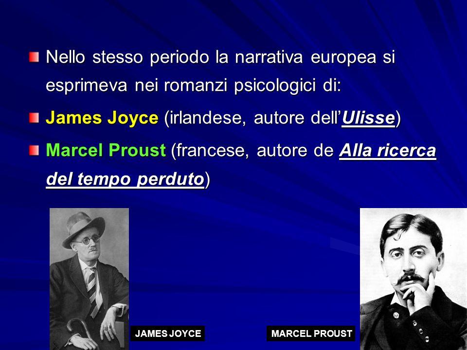Nello stesso periodo la narrativa europea si esprimeva nei romanzi psicologici di: James Joyce (irlandese, autore dell'Ulisse) Marcel Proust (francese, autore de Alla ricerca del tempo perduto) JAMES JOYCEMARCEL PROUST