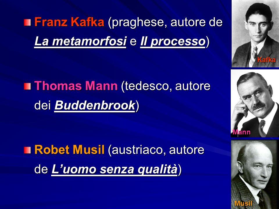 Franz Kafka (praghese, autore de La metamorfosi e Il processo) Thomas Mann (tedesco, autore dei Buddenbrook) Robet Musil (austriaco, autore de L'uomo senza qualità) Kafka Mann Musil