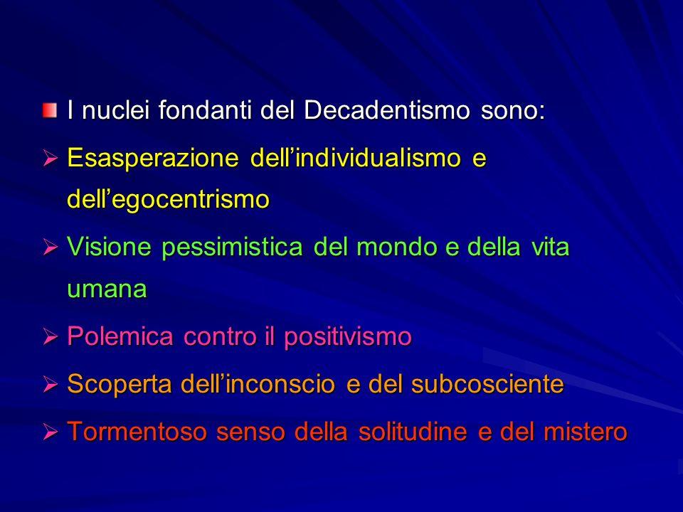I nuclei fondanti del Decadentismo sono:  Esasperazione dell'individualismo e dell'egocentrismo  Visione pessimistica del mondo e della vita umana  Polemica contro il positivismo  Scoperta dell'inconscio e del subcosciente  Tormentoso senso della solitudine e del mistero