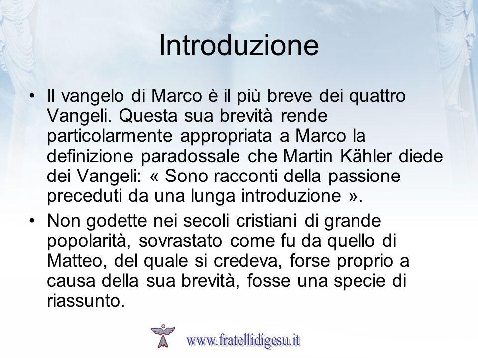 Introduzione Il vangelo di Marco è il più breve dei quattro Vangeli. Questa sua brevità rende particolarmente appropriata a Marco la definizione parad