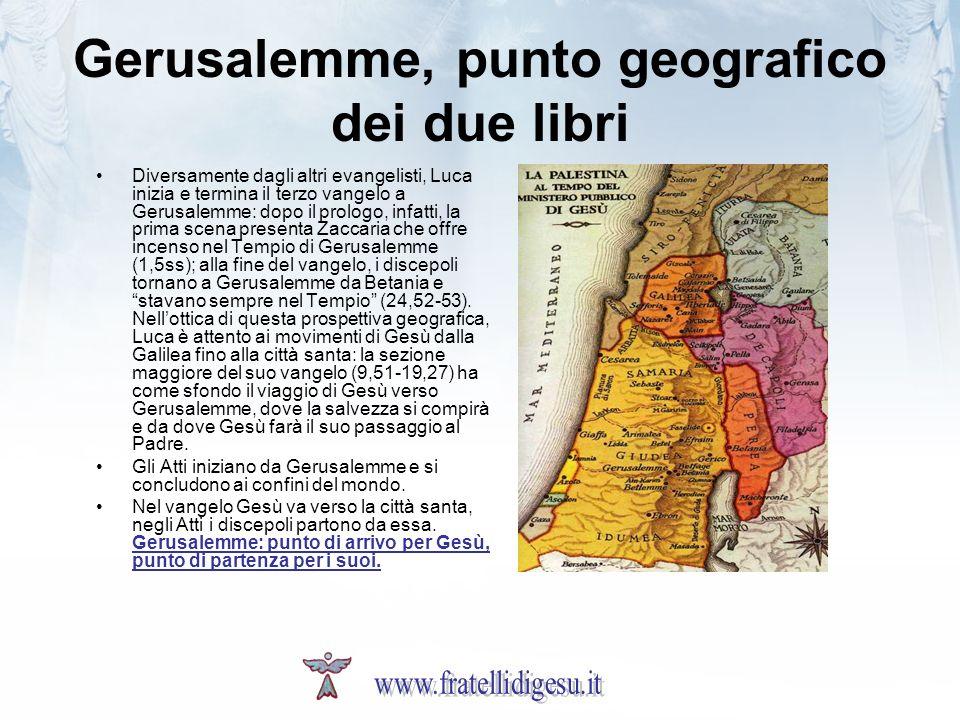 Gerusalemme, punto geografico dei due libri Diversamente dagli altri evangelisti, Luca inizia e termina il terzo vangelo a Gerusalemme: dopo il prolog