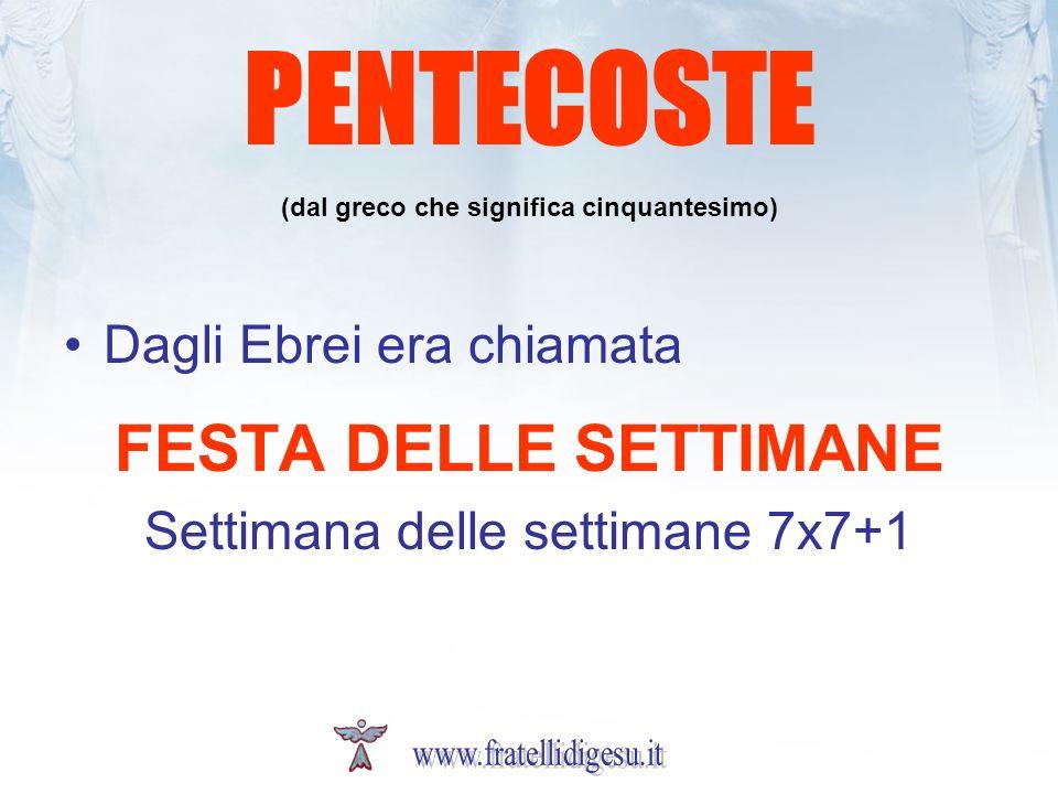 PENTECOSTE (dal greco che significa cinquantesimo) Dagli Ebrei era chiamata FESTA DELLE SETTIMANE Settimana delle settimane 7x7+1